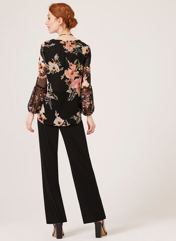 Long Bell Sleeve Floral Print Blouse, Black, hi-res