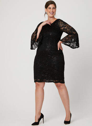 Bell Sleeve Sequin Lace Dress, Black, hi-res
