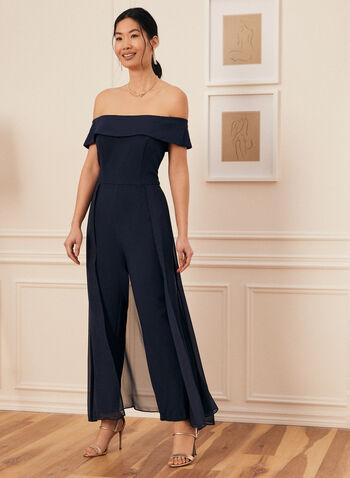 Combinaison à col Bardot et mousseline, Bleu,  combinaison, col bardot, mousseline, crêpe, jambe droite, printemps été 2021
