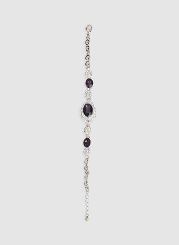 Bracelet à cristaux et pierres facettées, Violet, hi-res,  bracelet, pierres facettées, cristaux, automne hiver 2019