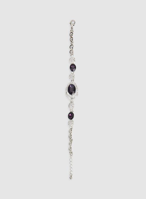 Crystal Detail Stone Bracelet, Purple