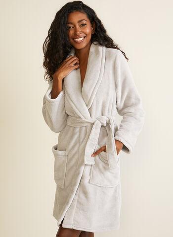 Belted Fleece Robe , Silver,  fall winter 2020, robe, fleece, belt, pyjama