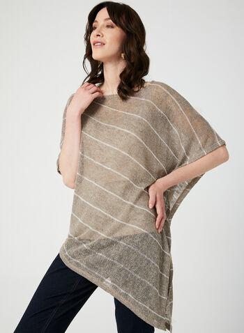 Asymmetric Poncho Top Camisole Set, Brown, hi-res,  knit poncho , knit top