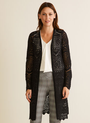 Long Open Front Crochet Cardigan, Black,  cardigan, open front, knit, crochet, long sleeves, scalloped, spring summer 2020