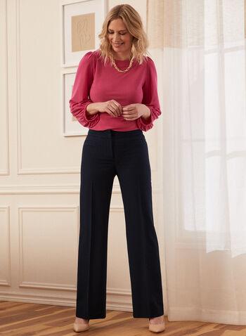 Louben - Pantalon à jambe droite , Bleu,  printemps été 2021, pantalon, poches, jambe droite, fermeture éclair, attaches, pinces