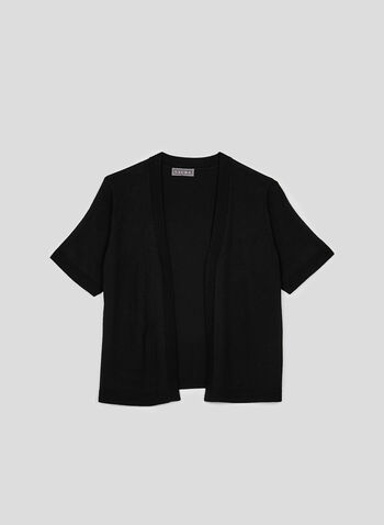 Cropped Open Front Bolero, Black, hi-res