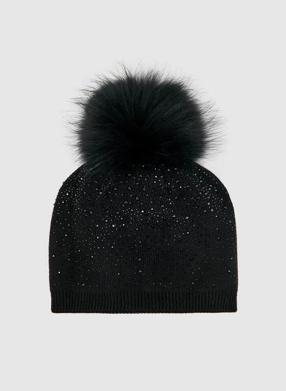 Crystal Embellished Toque, Black