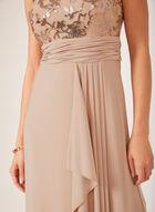 Robe au corsage en maille filet et jupe effet drapé, Rose, hi-res