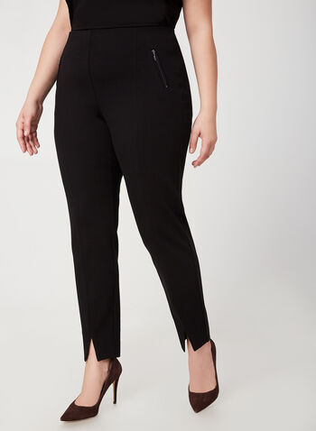 City Fit Straight Leg Pants, Black,  city fit, slit, straight leg, pants, stretch, ponte de roma, zipper, fall 2019, winter 2019