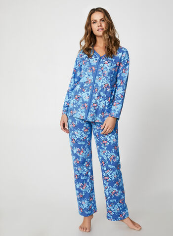 Hamilton - Floral Print Pyjama Set , Blue,  pyjama set, pants, top, cotton, flower, fall winter 2019