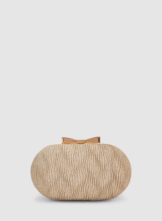 Oval Box Clutch, Gold, hi-res