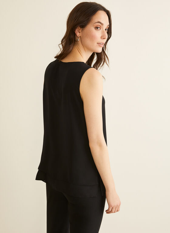 V-Neck Crepe Blouse, Black