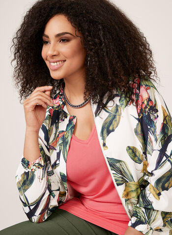 Ness- Floral Print Bomber Jacket, White, hi-res