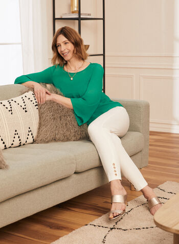 Chiffon Popover Blouse, Green,  chiffon top, chiffon blouse, blouse, top, angel sleeves, 3/4 sleeves, spring 2020, summer 2020