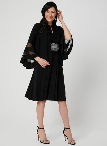 Bell Sleeve Bolero, Black, hi-res