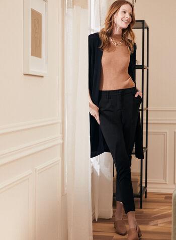 Cuffed Hem Slim Leg Pants, Black,  pants, slim leg, pleated, belt loops, pockets, cuffed, elastic, fall winter 2020