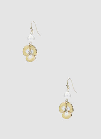 Floral Dangle Earrings, Yellow, hi-res,  earrings, flower, pearl, spring 2019, summer 2019