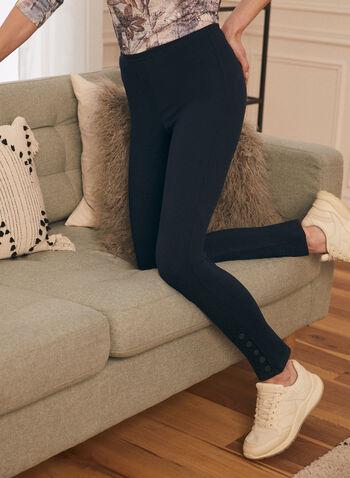 Button Detail Leggings, Blue,  leggings, button detailing, mid-rise, ankle length, spring summer 2021