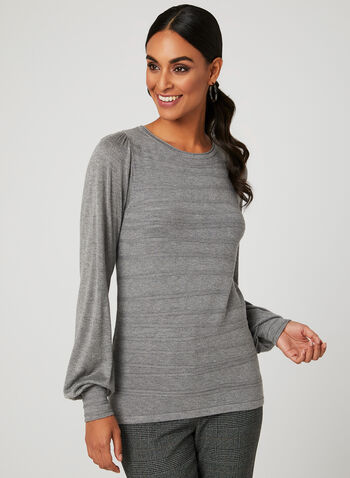 Ribbed Detail Knit Sweater, Grey, hi-res