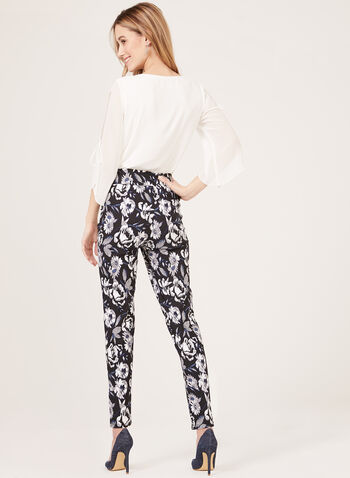 Floral Print Pull-On Slim Leg Pants, Blue, hi-res