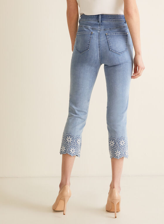 Embroidered Capri Jeans, Blue