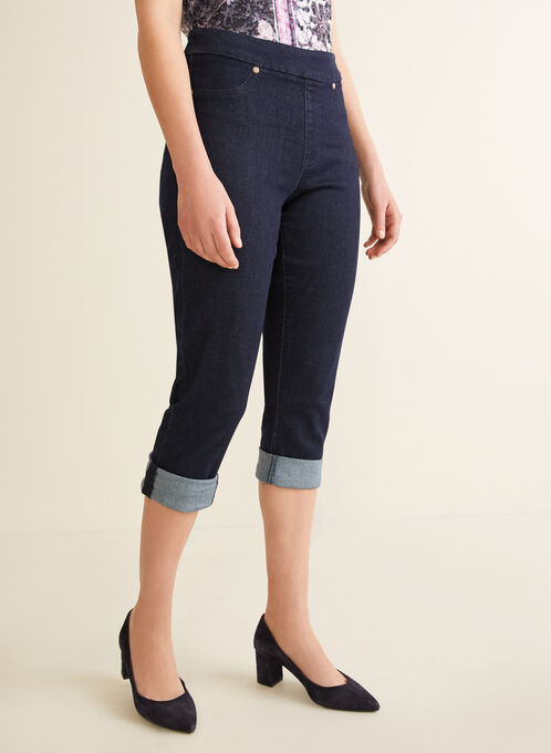 Carelli Jeans - Pull-On Denim Capri Pants, Blue