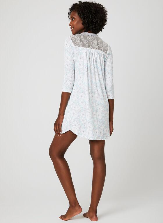 René Rofé - Lace Detail Jersey Nightgown, Grey, hi-res