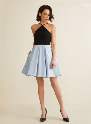 Mesh Detail Two-Tone Dress, Black,  dress, prom, party, short, satin, jersey, cutout, mesh, crinoline, two-tone, spaghetti straps, pleated, sleeveless, pockets, spring summer 2020