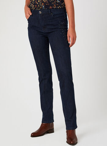 Simon Chang - Signature Fit Straight Leg Jeans , Blue, hi-res