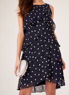 Polka Dot Chiffon Ruffle Dress, Blue, hi-res
