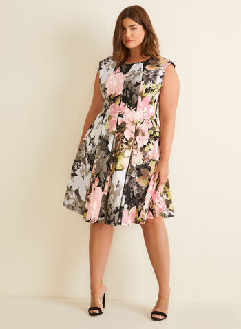 Floral Print Fit & Flare Dress, Black,  dress, day, floral, fit & flare, cap sleeves, scoop neck, mesh insert, paneled. scuba, stretchy, spring summer 2020