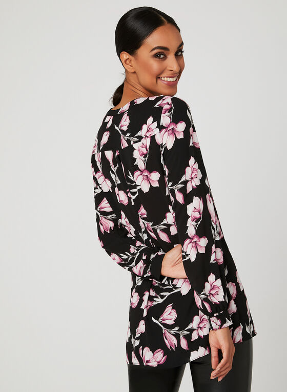 Floral Print Tunic Blouse, Red, hi-res