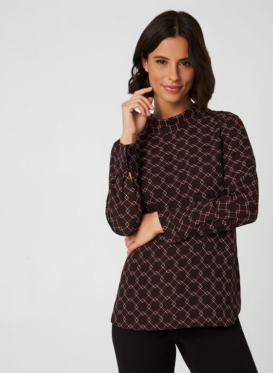 Geometric Print Crepe Blouse , Black
