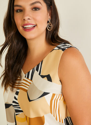 Abstract Print Sleeveless Blouse, White,  blouse, sleeveless, v-neck, abstract, animal, lined, crepe, spring summer 2020