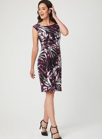 Leaf Print Faux Wrap Dress, Red, hi-res