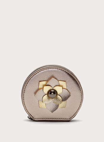 Metallic Flower Detail Coin Purse, Grey, hi-res