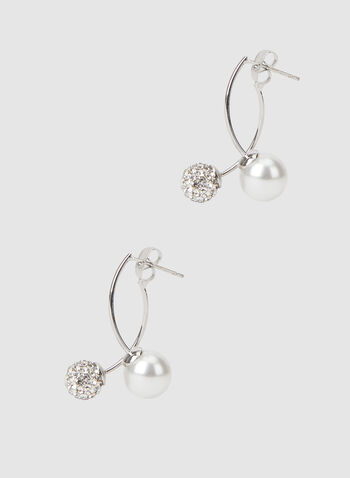 Fireball Bead Pearl Earrings, Off White, hi-res,