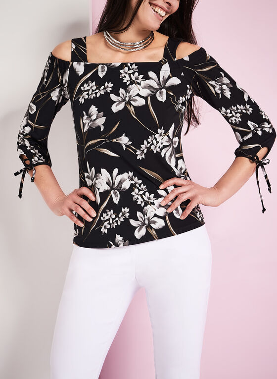 Floral Print Cold Shoulder Blouse, Black, hi-res