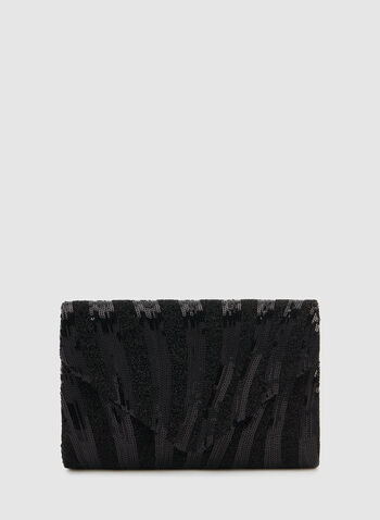Envelop Sequin Clutch, Black,  fall 2019, winter 2019, sequins, glitter, envelope