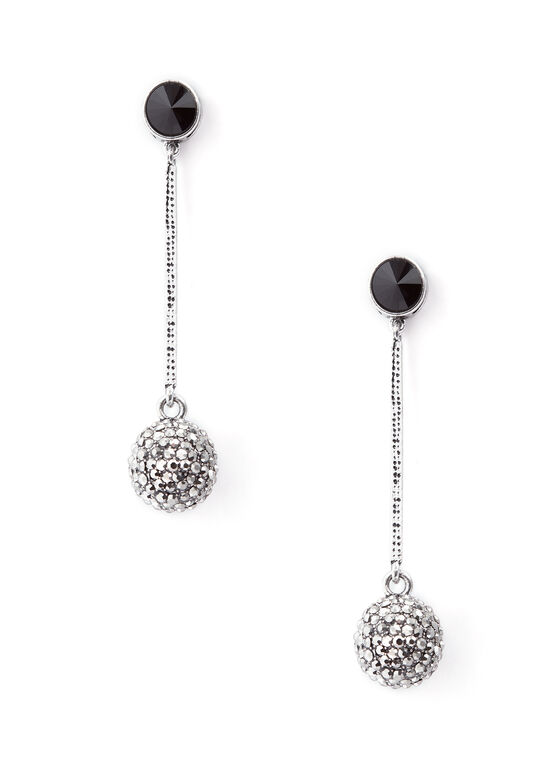 Pavé Ball Drop Earrings, Black, hi-res
