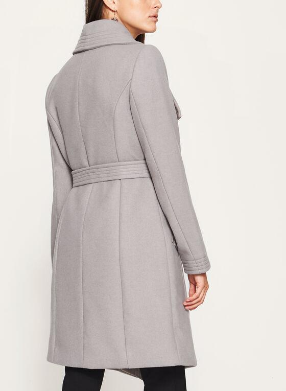 Wool Like Wing Collar Coat, Brown, hi-res