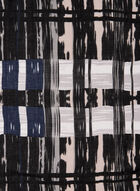 Abstract Plaid Print Scarf, Black