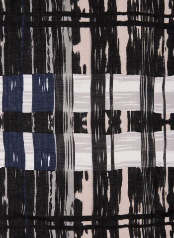 Abstract Plaid Print Scarf, Black,  scarf, printed scarf, plaid print, abstract print, fringes, fall 2019, winter 2019
