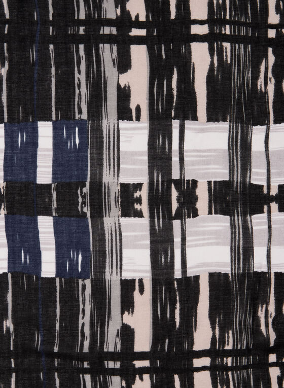 Abstract Plaid Print Scarf, Black