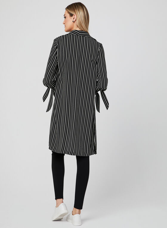 Veste longue à rayures, Noir
