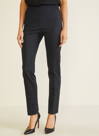 Dotted Print Pull-On Pants, Black,  pants, pull-on, slim, ponte di roma, dotted, pleats, fall winter 2020