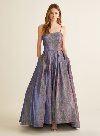 Metallic Glitter Ball Gown, Silver,  prom dress, gown, ball gown, scoop neck, spaghetti straps, metallic, glitter, pockets, crinoline, high low, spring summer 2020