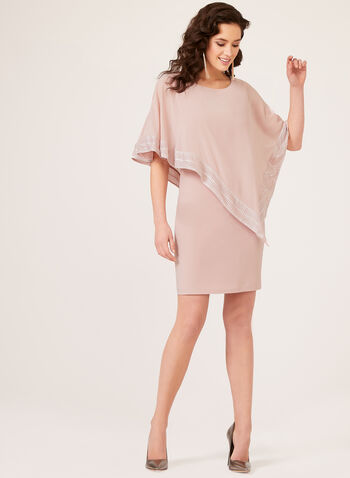 Foil Trim Poncho Dress, Pink, hi-res