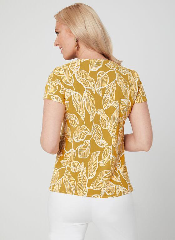 Haut à manches courtes à imprimé de feuilles, Jaune, hi-res