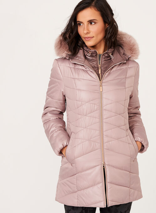 Marcona - Hooded Quilted Faux Down Coat, Pink, hi-res